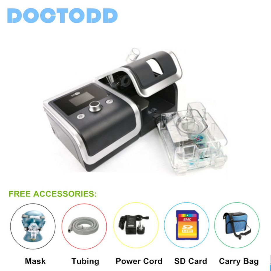 DOCTODD GII Auto CPAP Respirator E-20AH-O Portable Ventilator For Sleep Snoring Apnea W/ Humidifier Mask Hose SD Card doctodd gii bpap t 20s cpap machine w free mask humidifier and spo2 kit respirator for apnea copd osahs osas snoring people