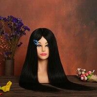 100% реальные человеческие волосы Учебные головы манекены с плеч черный волос прически манекен головы Парикмахерские Манекен головы