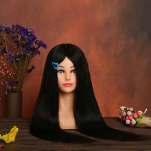 лучшая цена 100% Real Human Hair Training Head With Shoulders Black Hair Hairstyles Manikin Head Hairdressing Mannequin Head