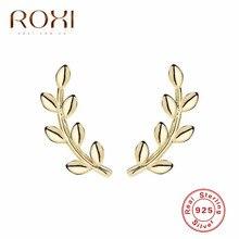 ROXI Boho Leaf Earring Ear Crawlers Wedding Jewelry Korean Trendy Minimalism Leaves Climber 925 Sterling Silver Earrings Brincos