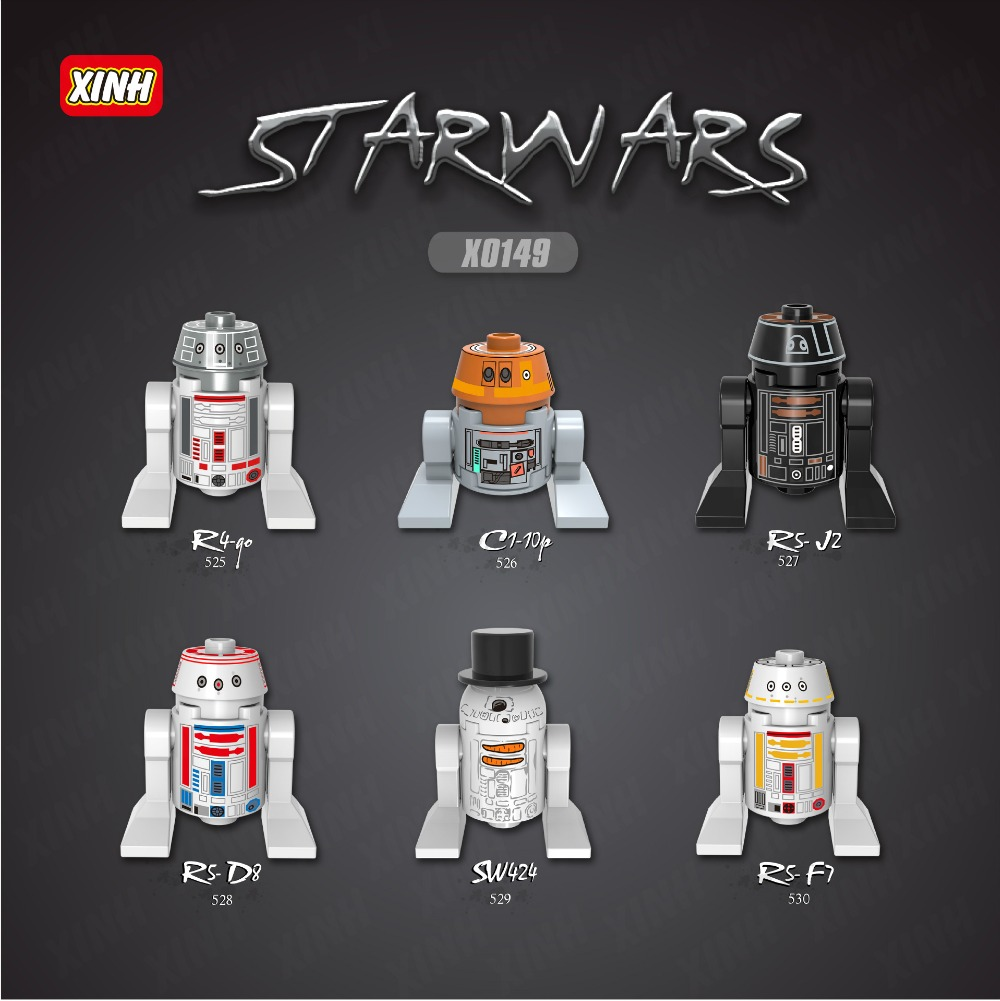 ФОТО Star Wars 100pcs X528 SW424 RSF7 RSD8 S RsD8 C110p RSJ2 StarWars Classic action figures toys for children lepin x0149