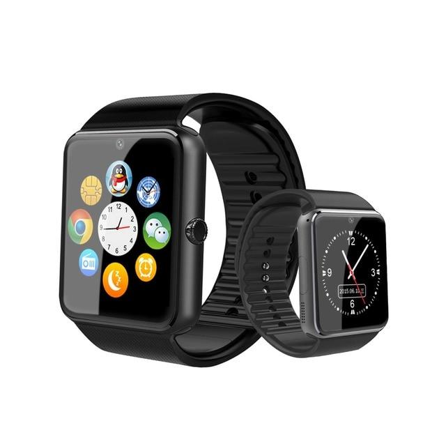 Bluetooth Smart Uhr Großen bildschirm touch fitness tracker Uhr SIM karte Call nachricht Erinnerung Schrittzähler Für Android tragen touch
