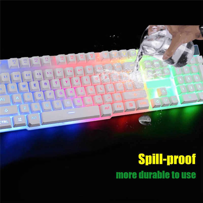 Новый проводной светодиодный мультимедийный эргономичный игровая клавиатура и мышь с подсветкой мышь комбо освещенный оптический геймер мышь наборы + коврик для мыши