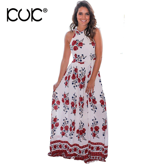41295116f Kuk Long Summer Dress Women Maxi Dress Plus Size 3XL Vestido Longo Halter  White Floral Hippie Chic Beach Tunic A768