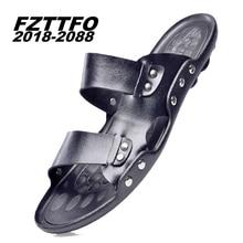 Men's 100% Genuine Leather New Famous Brand Casual Men sandals Slippers Summer Shoes Beach flip flops K260