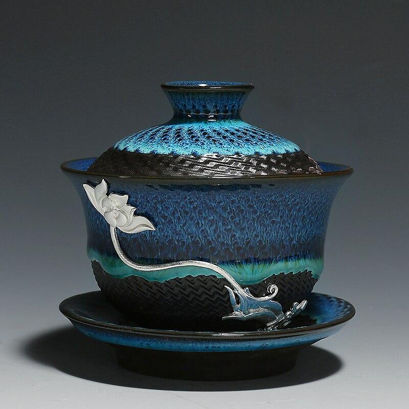 Creative Colored Ceramic Gaiwan Bowls 4