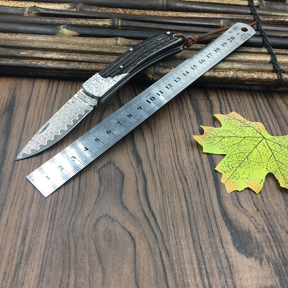 59HRC handmade Damascus steel folding font b knife b font Ebony handle font b knife b