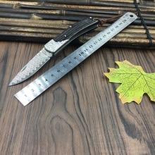 59HRC handmade Damascus steel folding knife  Ebony handle knife Portable outdoor camping pocket knife Utility