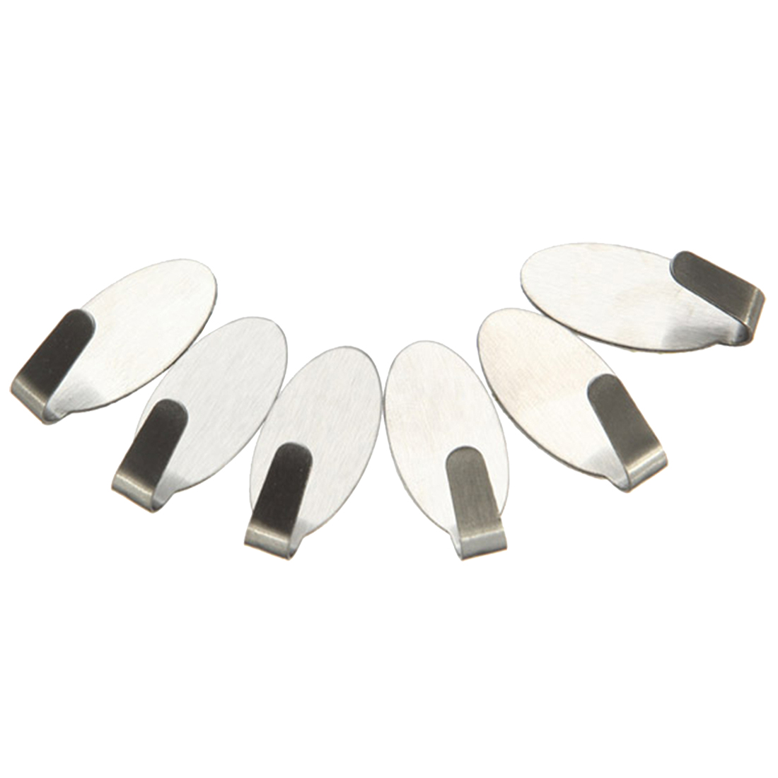 6 Stainless Steel Self Adhesive Stick Sticky On Door Wall Peg Hanger Holder Hook Pattern: Oval