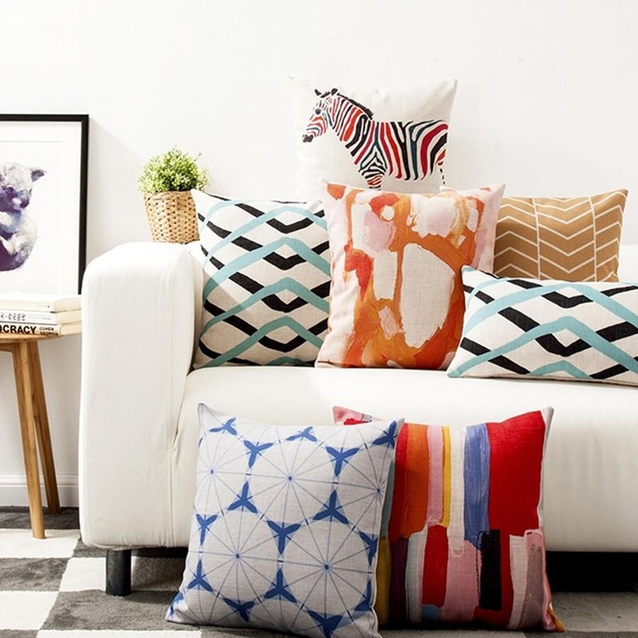 Creative Watercolor Pillow Cushions,waist Throw Pillows Linen Pillowcase In Home Decoration Sofa Cushions