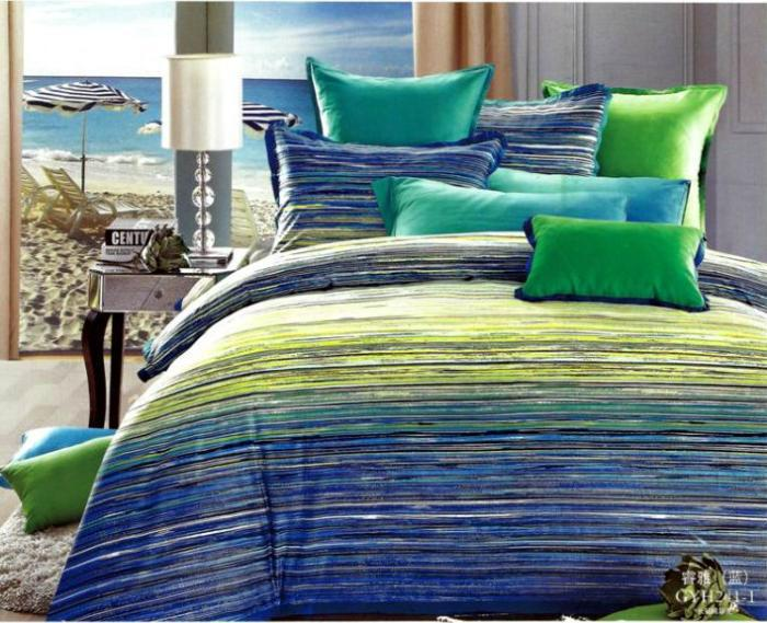 Blue Green Striped Egyptian Cotton Bedding Set Queen Quilt