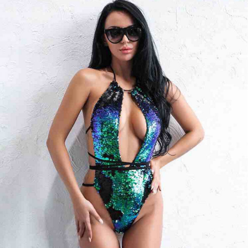 Mulheres Verde Bikini Set <font><b>2018</b></font> <font><b>New</b></font> Sexy <font><b>One</b></font> <font><b>Piece</b></font> Lace Lantejoula Up Bandage Push Up Acolchoado <font><b>Swimwear</b></font> Beachwear Escavar Maiôs image