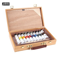 Free shipping France Pebeo Portable beginners 20 ml 10 color acrylic pigment brushes palette high grade wooden box suit