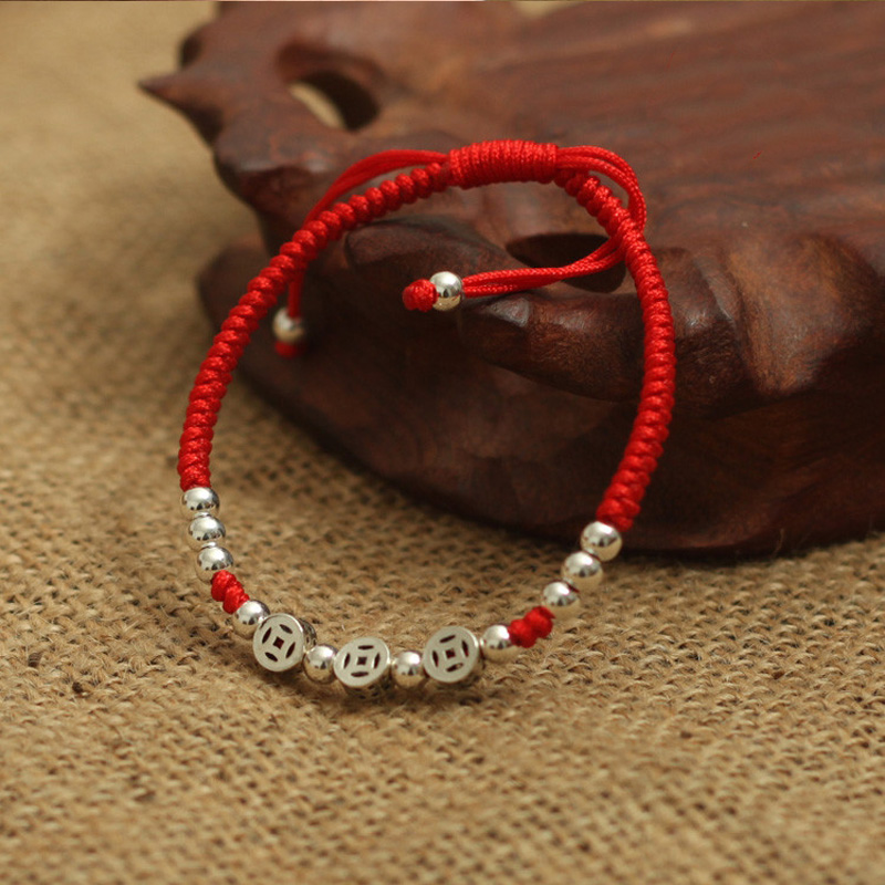 Real 925 Sterling Silver Ancient Coins  Beads Lucky Red Rope  Bracelet  Handmade Fortune  Bangle Amulet  Jewelry