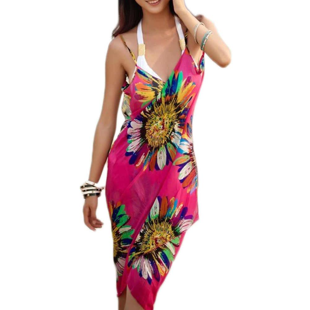 5d41b72f67 Fashion Women Beach Dress Sexy Sling Beach Wear Dress Sarong Bikini  Cover-ups Wrap Pareo