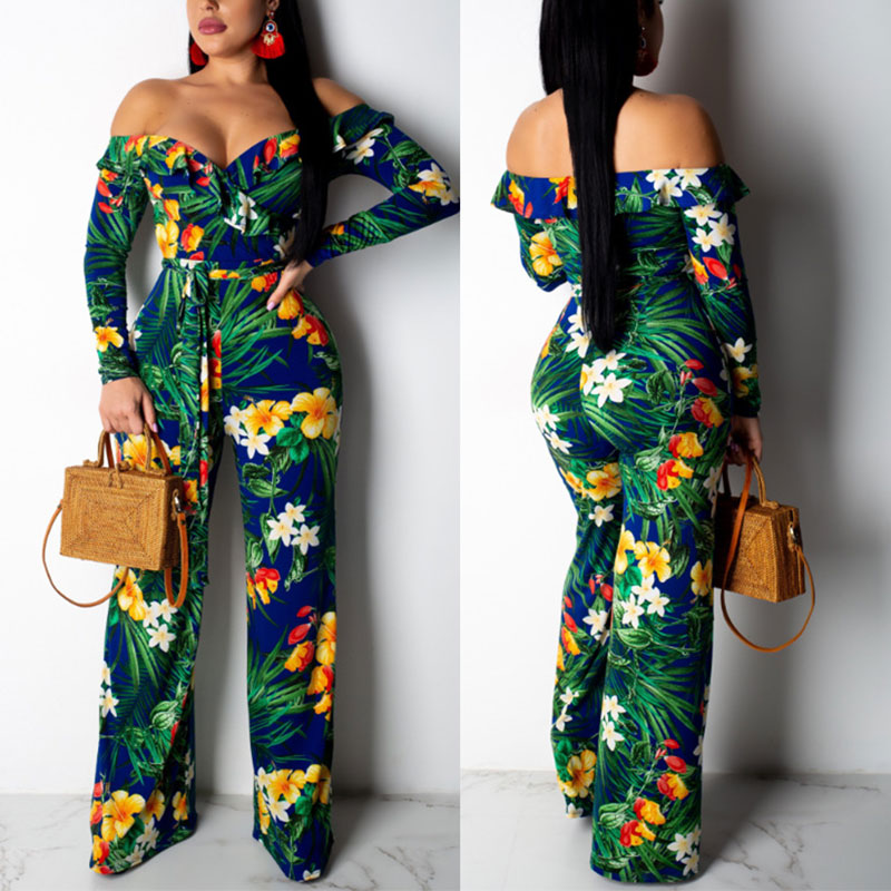 Glamaker Off shoulder skinny women jumpsuit romper Skinny print sexy jumpsuit Two-piece suit summer jumpsuit overal 2019 new