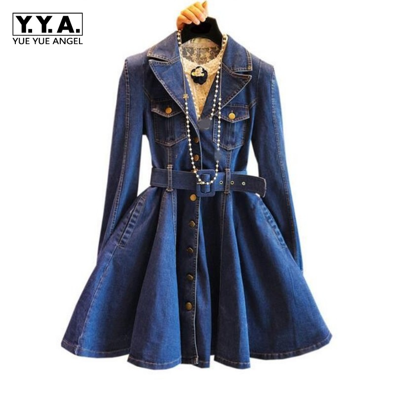 New Arrival Spring Autumn Womens Belted Denim   Trench   Blue Color A Line Sashes Female Clothes For Woman Robe Femme