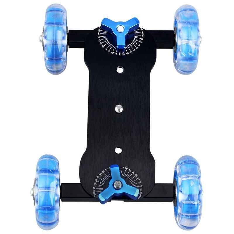 ABKT-столешница Долли мини автомобиль Скейтер трек слайдер супер немой для DSLR камеры видеокамеры (синий и черный)