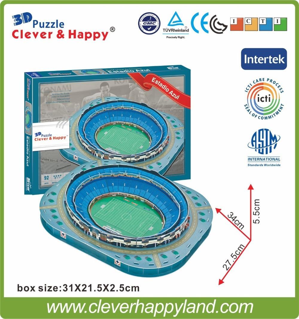 2015 nou inteligent și fericit Paper 3D Model Puzzle Mexic Estadio Azul Stadium Fotbal Sport Suvenir NIB