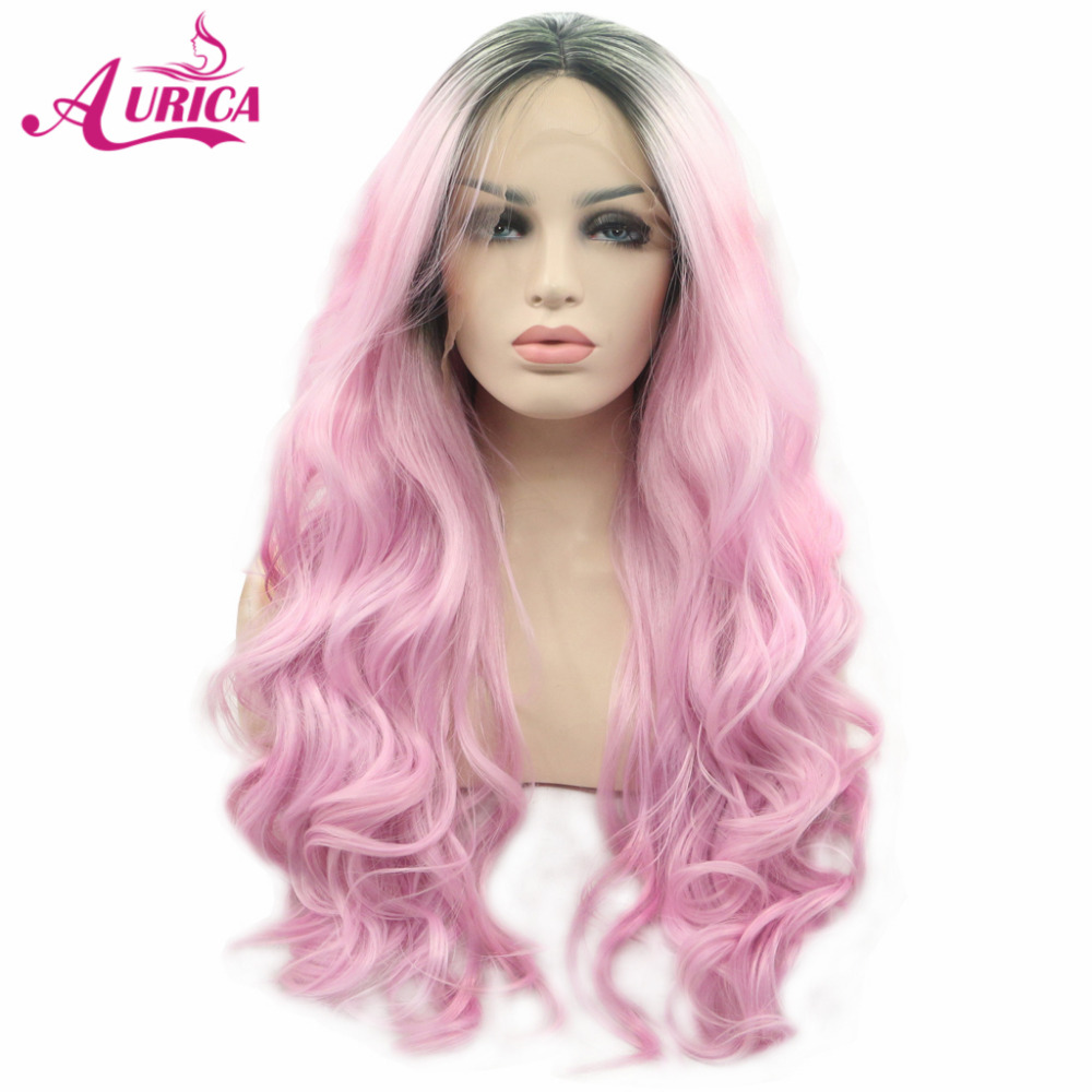 Aurica Ombre Pink Heat Safe Synthetic Hair Lace Front Wig with Short Dark Roots ...