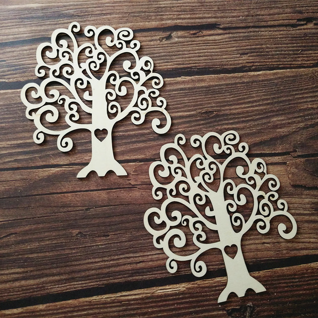 6pcs wooden tree shape wood tree art projects craft christmas decoration gift decoupage laser cut art