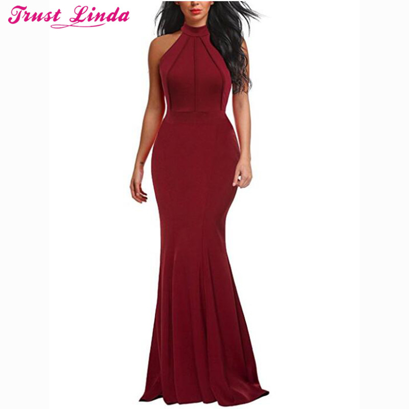 Sexy Halter Mermaid   Bridesmaid     Dresses   Simple Burgundy Satin Sleeveless Prom Gowns Casual Bridal Party Wear   Dress   Custom Made