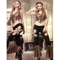 9968 Women Sexy Lingerie Fashion Leopard Print Costumes Ballroom Dance Dress Evening Party Wear Halloween Costumes