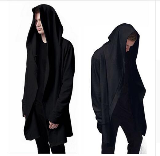 Best Quality Men's Hooded With Black Gown Hip Hop Mantle Men Hoodies and Sweatshirts long Sleeves Cloak Coats Outwear