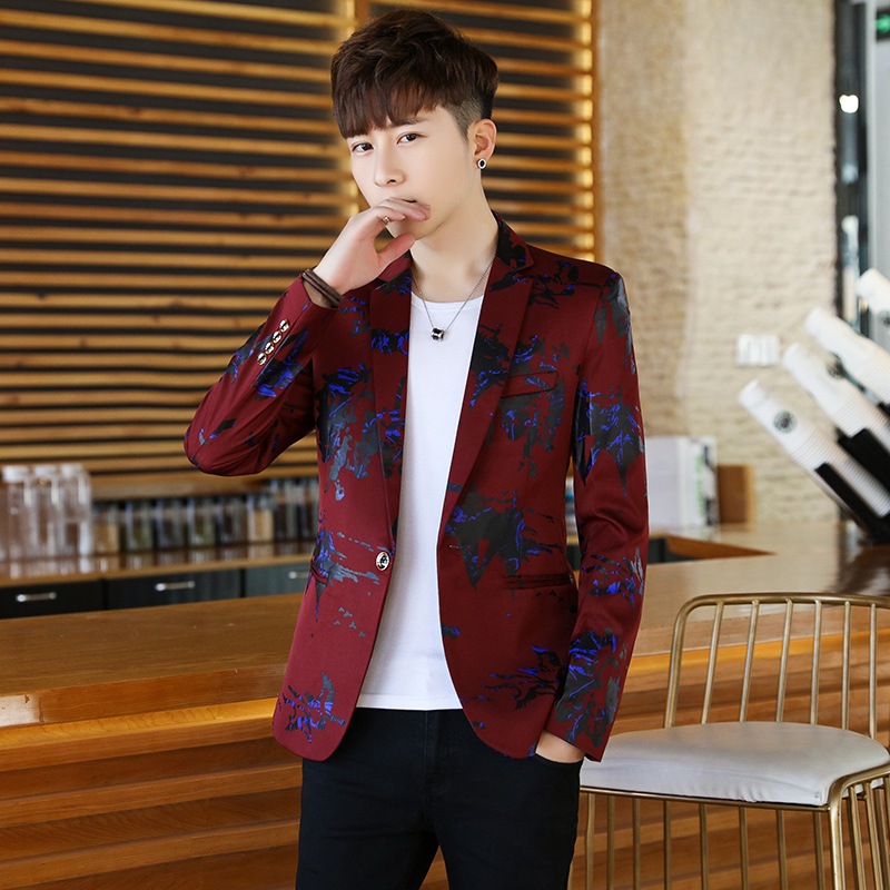 HOCO  2019  New Men's Cultivate One's Morality Fashion Suits Youth Printed Leisure Blazer