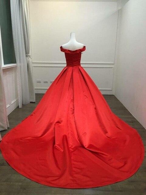 2021 Elegant Simple Red Prom Dresses V Neck Ball Gowns Cap Sleeve Satin vestidos de formatura Backless Reflective Dress 3