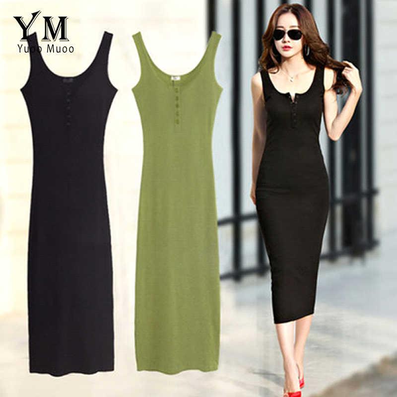 4d732e1c54bde YuooMuoo High Quality Women Summer Dress 2018 Cotton Sleeveless Buttons  Design Bodycon Dress Vestido Base Black Midi Dress