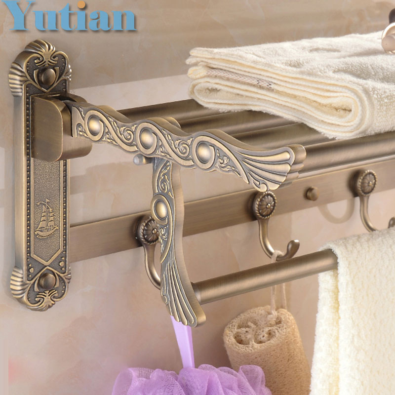 FREE SHIPPING, Bathroom towel holder, zinc alloy antique brass towel rack,60cm bath  towel rack ,YT-4011 whole brass blackend antique ceramic bath towel rack bathroom towel shelf bathroom towel holder antique black double towel shelf