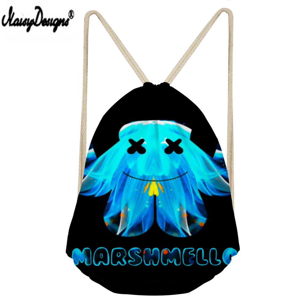 NOISYDESIGNS Linen Drawstring Bag Marshmello Printed Drawstring Bag Children Boy Girl 3D Customzied Storage Mochilas Saco