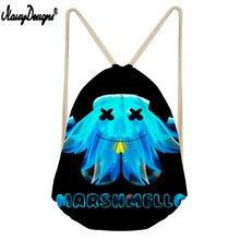 NOISYDESIGNS Linen Drawstring Bag Marshmello Printed Drawstring Bag Children Boy Girl 3D Customzied Storage Mochilas Saco Cordon