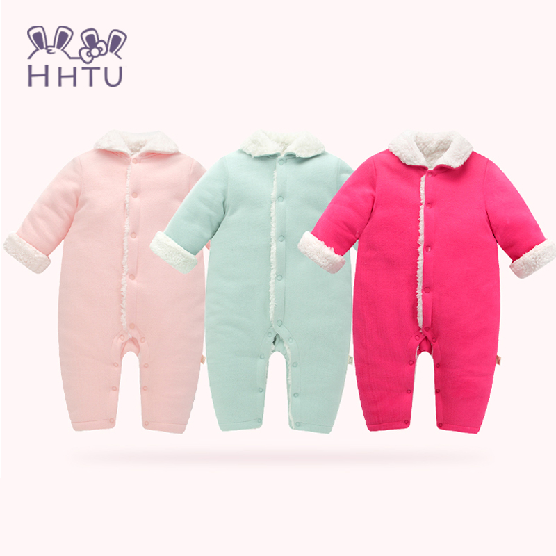 HHTU 2017 Newborn Baby Rompers Clothes Girls Autumn Winter baby Thickening Cotton Fleece Long-sleeved Jumpsuits Baby Clothing hhtu brand baby rompers boys girls clothing quilted long sleeve jumpsuits newborn clothes boneless sewing children cotton winter