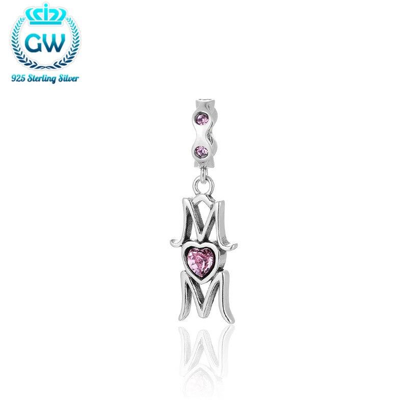 13240c00c175 GW corazón Rosa Piedra Natural mamá encanto 925 joyas de plata al por mayor  Amuletos fit DIY pulseras S098