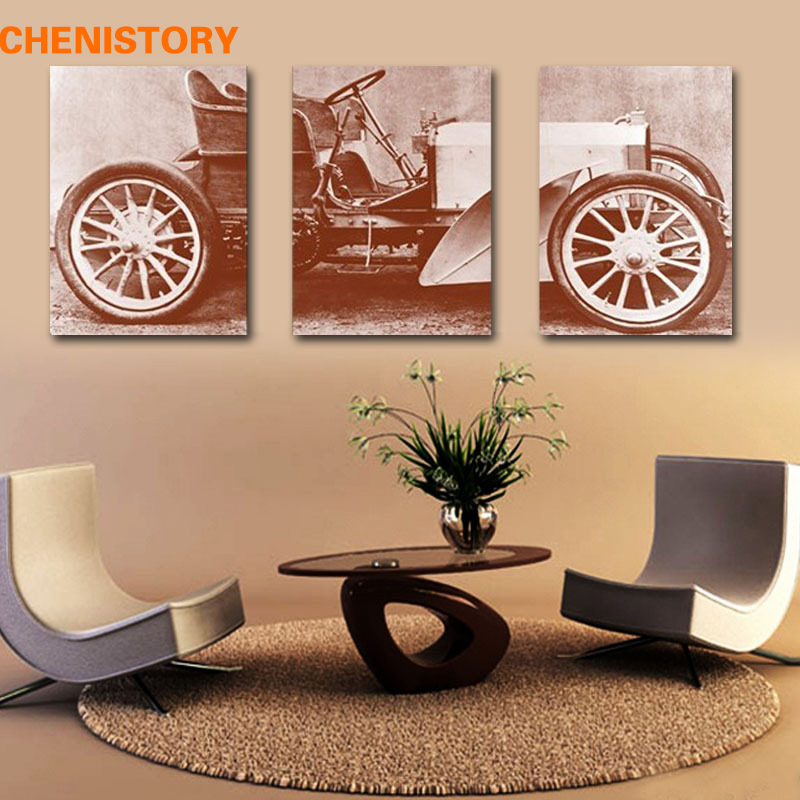 Unframed 3 Pieces Vintage Ancient Car Printed On Canvas