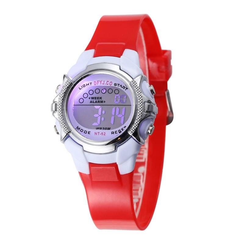 Chilldren LED Light Alarm Digital Watch Blue Silicone Wristwatch Boys Kids Children LED Digital Sport Watch Girls Pink Watches