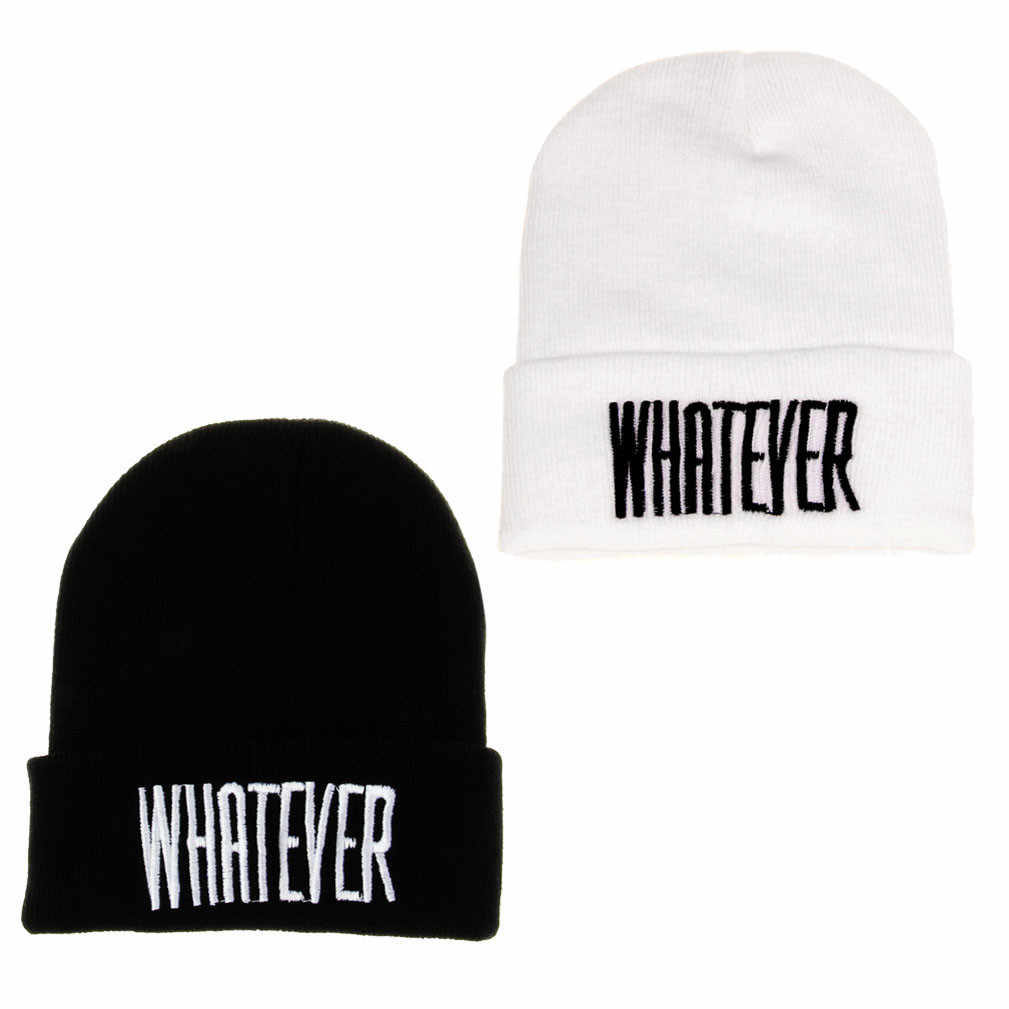 Winter Black Whatever Beanie Hat And Snapback Men And Women Cap gorros mujer invierno hat for men women  Caps Female Headgear
