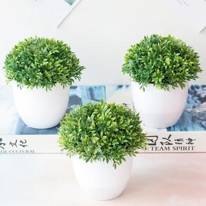 Artificial Potted Plant Bonsai Plastic Flowerpot Ornaments Simulation Flower Grass Birthday Party Decor Home Office Desk Decor(China)