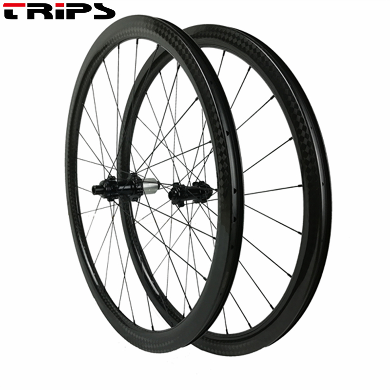 700C 38mm clincher Carbon Disc brake road wheelset 24H center lock carbon cyclocross bike wheels 25mm