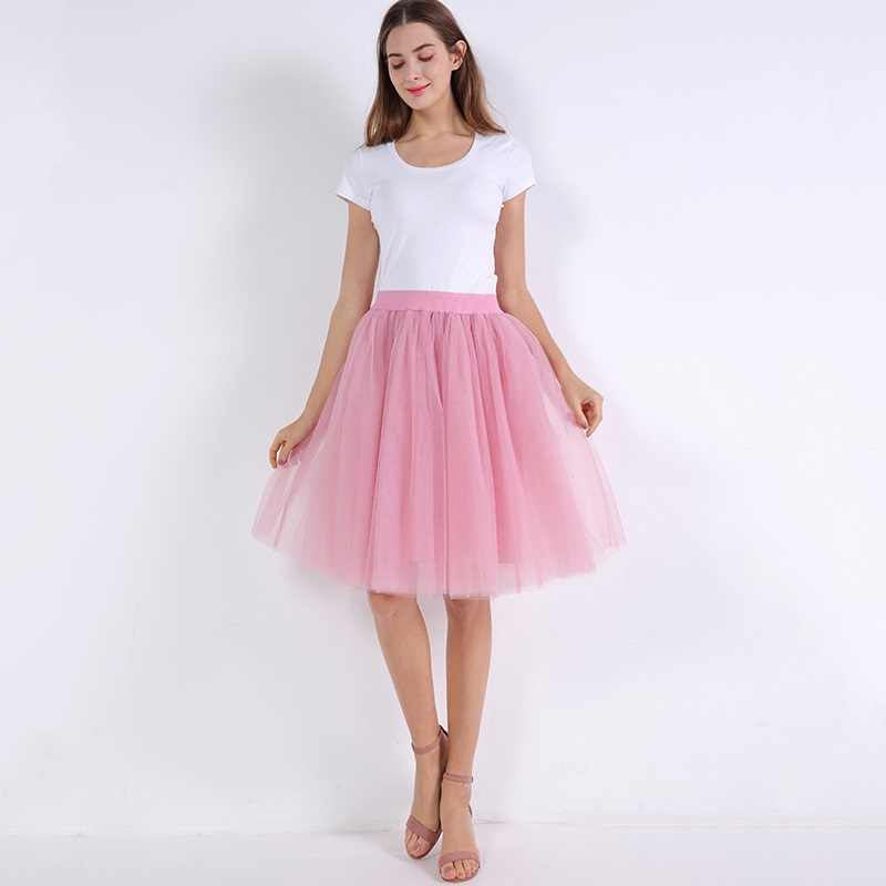 4fe7958035e1a 5 Layers 60cm Midi Tulle Skirt Princess Womens Adult Tutu Fashion Clothing  Faldas Saia Femininas Jupe Summer Style