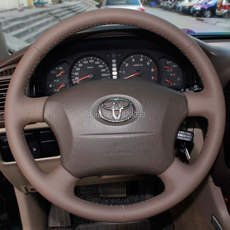 Steering <font><b>Wheel</b></font> <font><b>Cover</b></font> Case for <font><b>Toyota</b></font> Land Cruiser Old Prado Specially <font><b>Covers</b></font> Genuine Leather DIY <font><b>Car</b></font> Steering <font><b>Cover</b></font> image