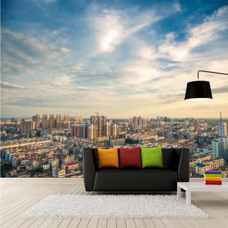Фото обои 3d стерео современный городской архитектуры высокой посадкой росписи ТВ стены гостиная, спальня пользовательские обои