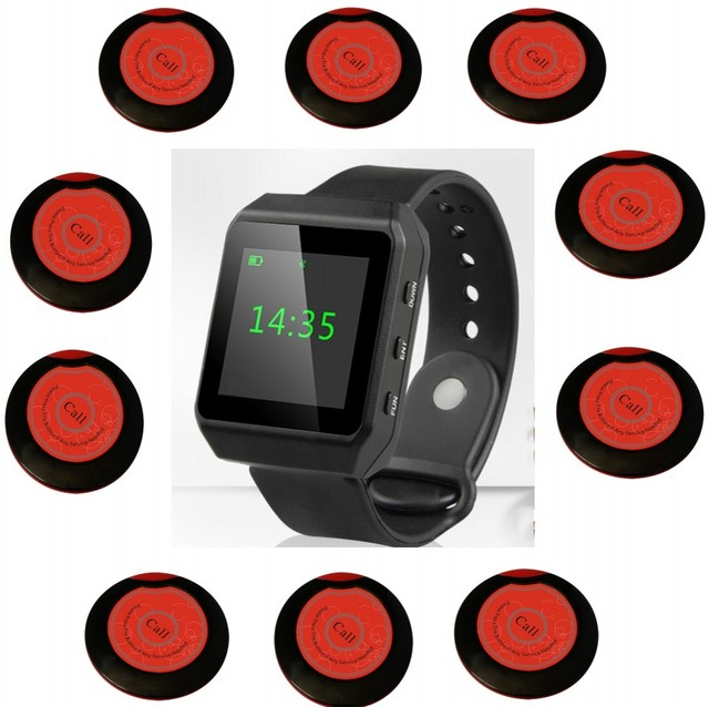 Oled big color screen wrist pager, waiter call, nurse call, hospital wireless calling system, restaurant guest paging system