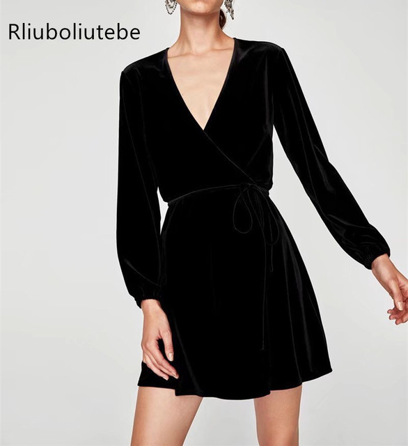 Velvet Wrap Dress Women Autumn Winter Tunic Long Sleeve Mini Black Red Work Office Dresses V
