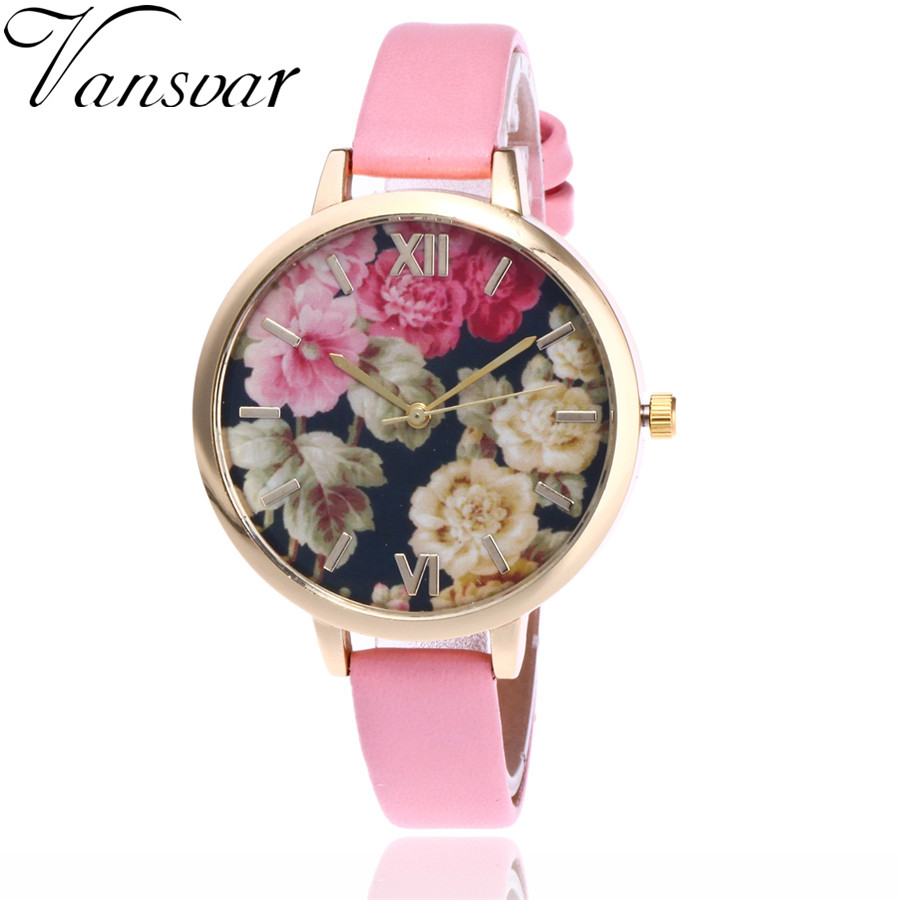 Vansvar Brand Fashion Floral Flower Watch Garden Beauty Bracelet Women Wrist Watch Luxury Quartz Watch Gift Relogio Feminino V56 vansvar brand fashion casual relogio feminino vintage leather women quartz wrist watch gift clock drop shipping 1903