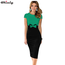 Oxiuly Womens Elegant Bowknot Patchwork Short Sleeve High Waist O-Neck Knee Casual Work Party Sheath Bodycon Pencil Office Dress