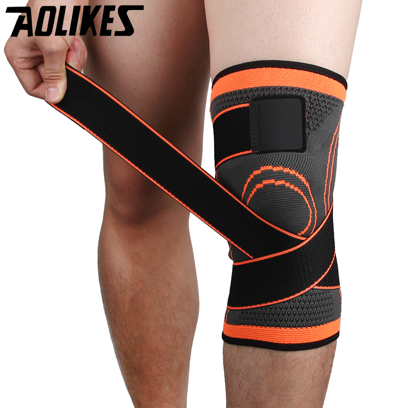 Aolikes 3D weave pressurization knee brace basketball tennis hiking cycling knee support professional protective sports knee pad цена