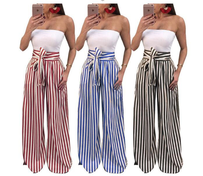 Women Wide Leg Pants Contrast Stripes Print High Waist Straight Pant Female Bow Tie Casual Spring Autumn Trousers Party Wear